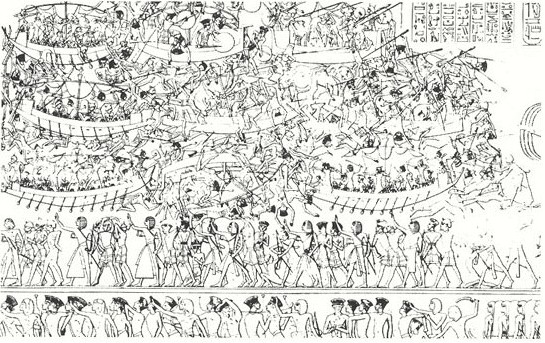 Egyptian Art: Wall Panel at Mendinet Habu showing battle with Sea People
