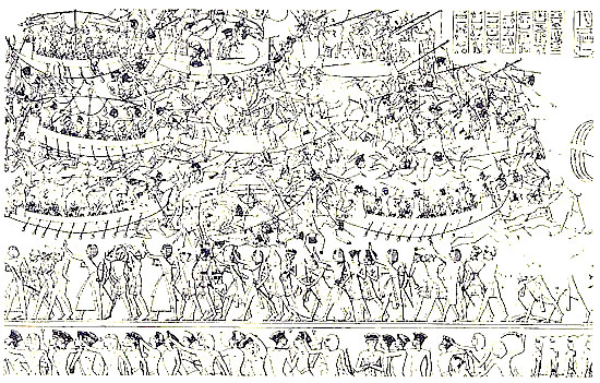 Egyptian art recorded the  Invasion of the Sea Peoples